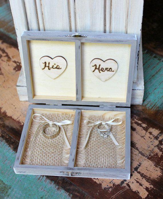 Ring bearer box ring pillow rustic burlap wedding personalized ring bearer box ring pillow rustic burlap wedding personalized with wood heart your color choice junglespirit Image collections