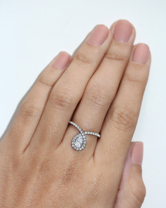 pear shaped engagement ring pear cut diamond engagement ring bliss unique engagement ring art deco engagement ring - Pear Shaped Wedding Ring