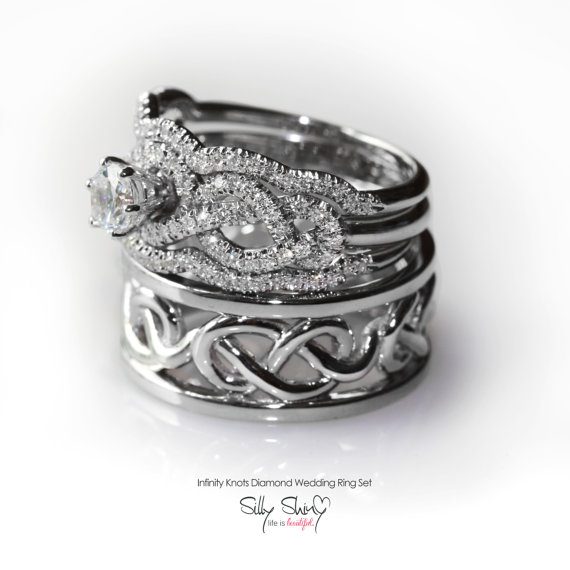 His & Hers Infinity Knot Wedding Rings Set Includes Engagement Ring With