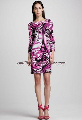 Wedding - Emilio Pucci Printed Square-Neck Dress Fuchsia