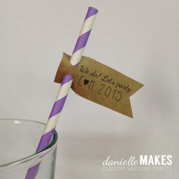 Hochzeit - Wedding Straws With Custom Flags, 30 Pack