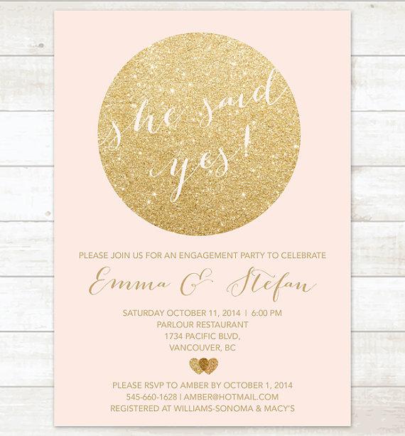 زفاف - pink gold engagement party invitation, pink and gold glitter printable invitation, modern shower digital invite customizable
