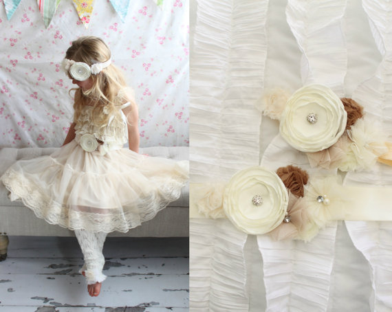 زفاف - Lace Dress, Rustic Wedding Flower Girl Dress. Birthday Outfit, Cake Smash Outfit, Chiffon Lace Dress.  Bridal Rose Sash, Headband Hair Bow.