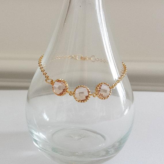 Свадьба - Friendship Bracelet, Cuff, Bangle, Charm Bracelet, Wedding Jewelry, Bridesmaid, Bridal, Personalized, Mother Day, Peach, Rose, Pink