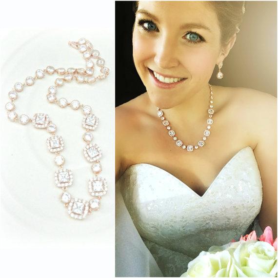 Rose Gold Wedding Necklace Pink Gold Bridal Necklace Rhinestone