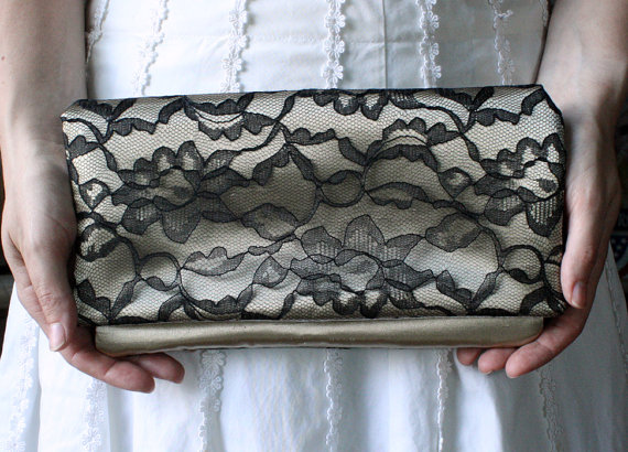 Hochzeit - The LENA CLUTCH - Gold and Black Lace Clutch - Wedding Clutch Purse - Bridesmaid Gift Idea goodmarvin clutch