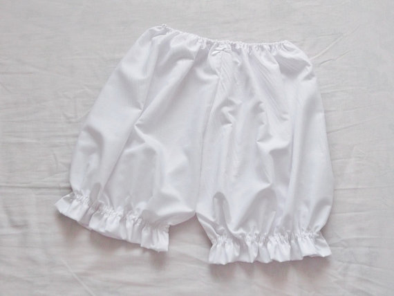 Mariage - White Everday Comfy Baisc Lolita Fairy Kei Ruffle Bloomers Pumpkin Shorts