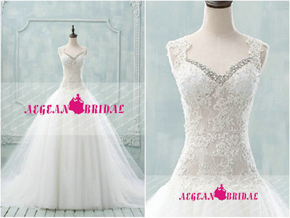 RW294 See Through Lace Wedding Dress Sequin Rhinestone Ball Gown ...