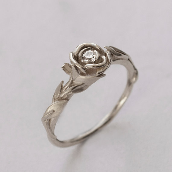 rose engagement ring no2 14k white gold and diamond engagement ring engagement ring leaf ring flower ringart nouveauvintage - Rose Wedding Ring