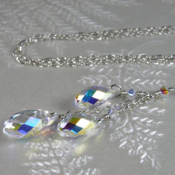 Mariage - Y Drop Crystal Necklace, Bride Wedding Pendant, Bridal Swarovski, Clear Teardrop Bridesmaid Accessory, Handmade Wedding Jewelry