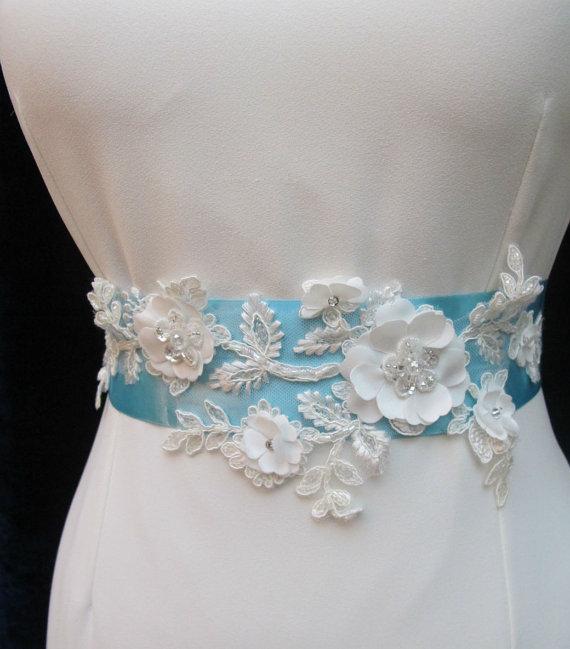 Mariage - Bridal Sash Belt Wedding Sashes Bridal Ivory 3D Applique