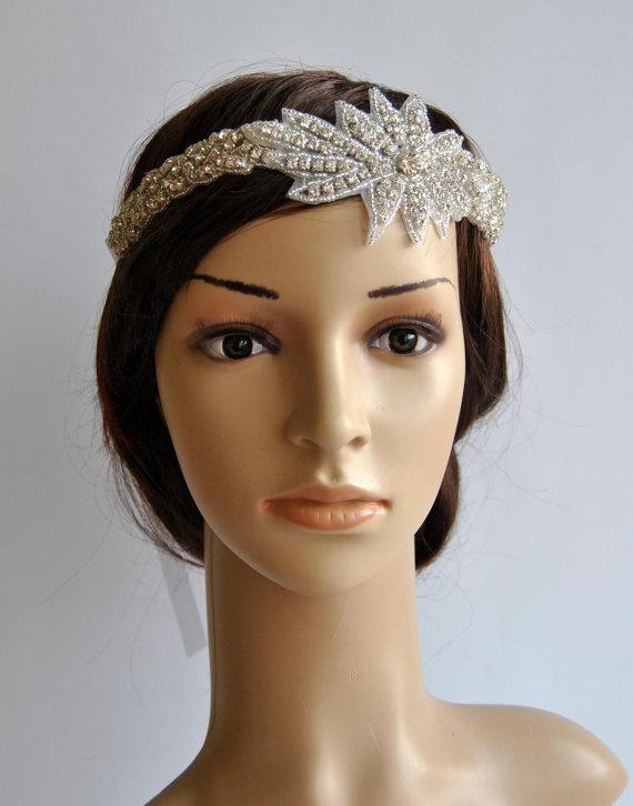 Hochzeit - Rhinestone 1920s Headpiece,Flapper Headpiece,1920s and 1930s headpiece,Rhinestone beaded headpiece,The Great Gatsby Headband