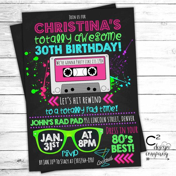 totally awesome neon 80 s birthday invitation 2276468 weddbook