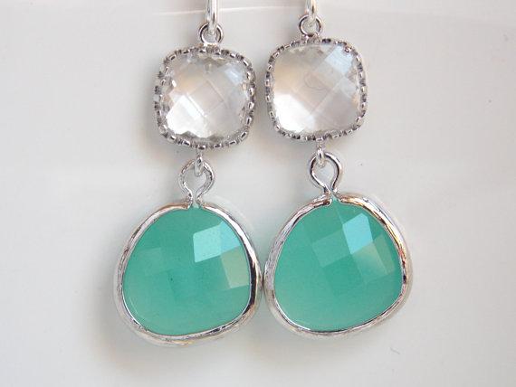 Wedding - Mint Earrings, Glass Earrings, Aqua Earrings, Green Mint, Clear, Weddings, Bridesmaid Earrings, Bridal Earrings Jewelry, Bridesmaid Gifts