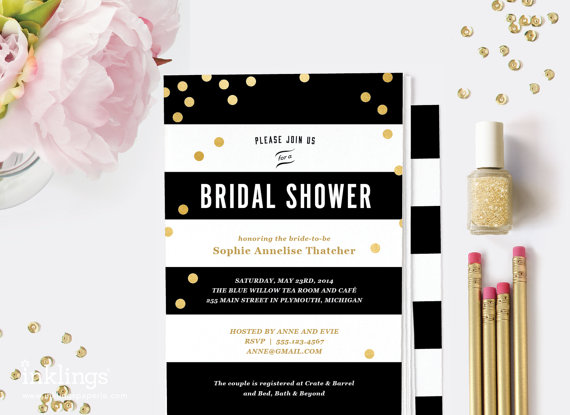 زفاف - Printable Bridal Shower Invitation  // Black Stripes and Gold Dots  // Editable Instant Download