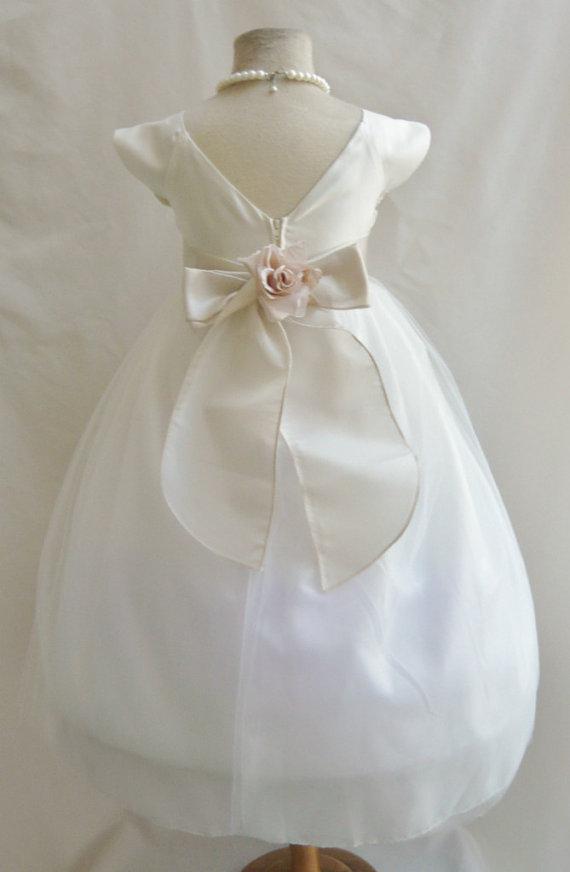 زفاف - Flower Girl Dresses - IVORY with Champagne Satin Dress (FD0SV) - Wedding Easter Bridesmaid - For Children Toddler Kids Teen Girls