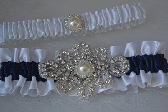 Hochzeit - Wedding Garter Set - Navy Blue Garters And White Satin With Rhinestone Embellishments, Garter Belts, Bridal Garter Set