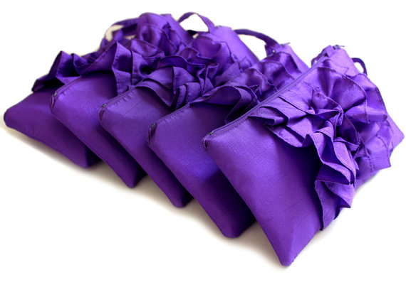 Hochzeit - SET OF 5 Purple Wedding Wristlets - Bridesmaid Ruffle Clutches - Purple Wedding favor
