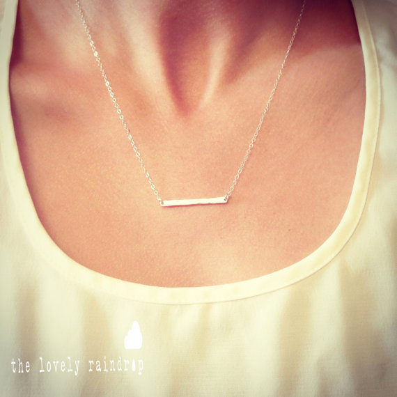 Hochzeit - Sterling Silver Tiny Hammered Bar Necklace - Dainty Small Bar Pendant Sterling Silver - Gift For - Wedding Jewelry - Simple Everyday