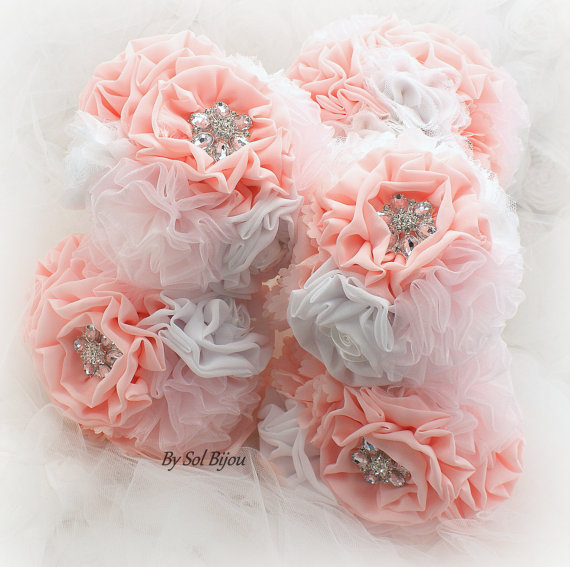 Hochzeit - Bridesmaids Brooch Bouquets, Wedding Fabric Bouquets, Maid of Honor, Flower Girl,  in White, Coral, Blush and Pink with Lace