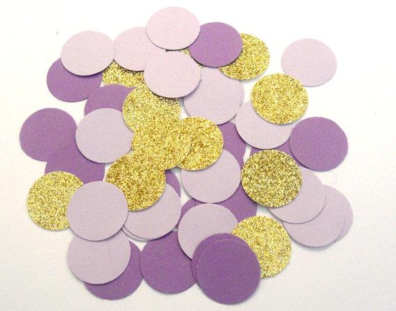lavender lilac gold glitter confetti wedding confetti purple confetti bridal shower decor baby shower sprinkle wedding invitation decor
