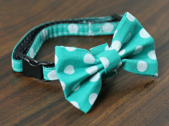 زفاف - Cat Collar with Bow Tie - Teal Polka Dots