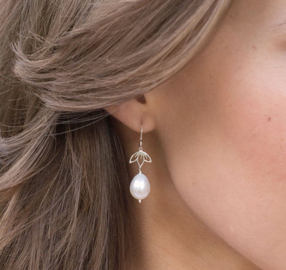 Natural Pearl Earrings Freshwater Drop Bridal Jewelry Sterling Silver Lotus Real