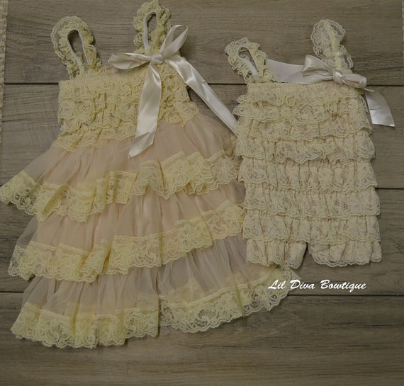 Mariage - Matching Sisters Dress and Romper- Elegant Vintage Cream Lace Dress & Romper Baby-Toddler-Photograpy prop-Flower girl dress