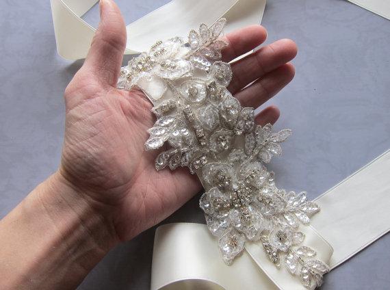 Crystal Bridal Sash Belt Flower Wedding Dress Sash Vintage Style
