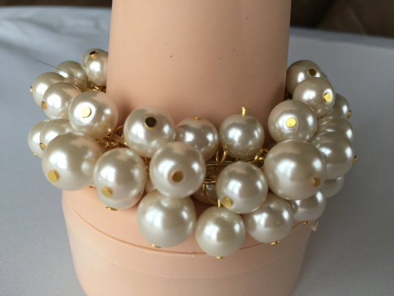 Mariage - Chunky Ivory Pearl bracelet on gold chain- bridesmaid jewelry, wedding jewelry