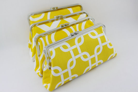 Mariage - Lemon Yellow Bridal & Bridesmaid's Clutches for Wedding Party Gifts / Wedding Clutches / Bridesmaid Clutches - Set of 4