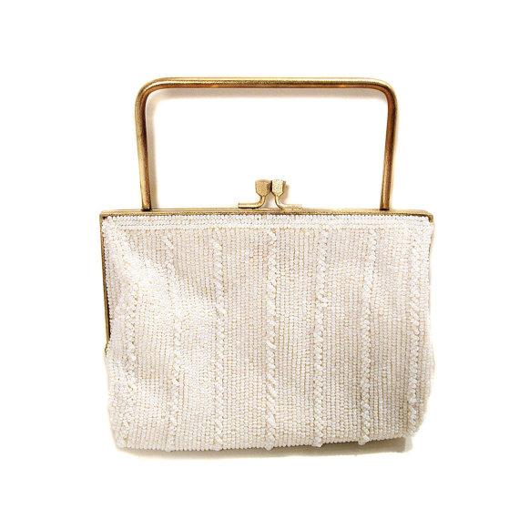 Mariage - 60s Richere White Beaded Purse Japan Bead Handbag Wedding Bride Clutch