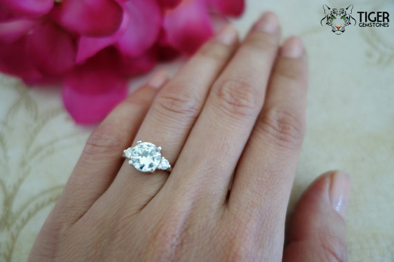 Size 5.5: 2 Carat Round, Accent Engagement Ring, Man Made Diamond Simulant,  Wedding, Bridal, Promise Ring, Sterling Silver, 14k Gold Upgrade