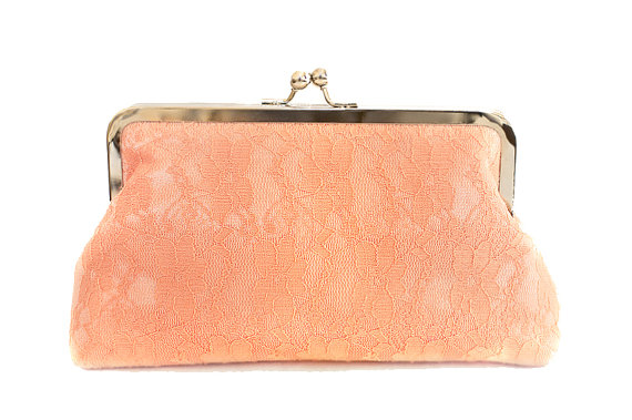 Mariage - Peach Clutch Purse Lace Satin Pastel Wedding Large Size Bag Brdal Summer Ready to Ship