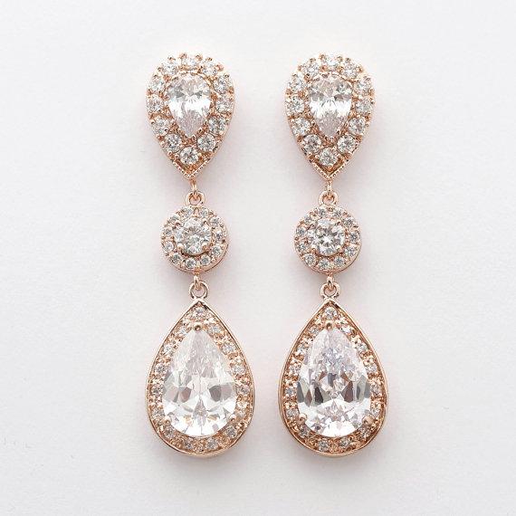 Hochzeit - Rose Gold Bridal Earrings Wedding Jewelry Large Cubic Zirconia Teardrop Earrings Bridal Earrings Wedding Earrings
