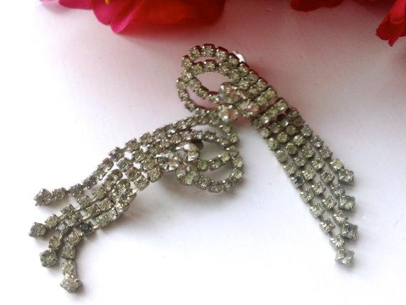Mariage - Art Deco Rhinestone Statement Fringe Earrings Bridal Wedding Fashion Jewelry