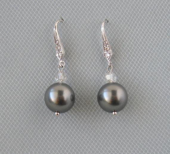 Mariage - Genuine Swarovski Grey Pearls in Rhodium Plated Over Brass Earrings - Grey Earrings - Bridesmaid Gift - Wedding Jewelry - DK487