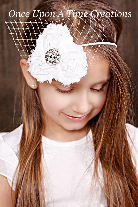 Wedding - Pure White Shabby Flowers on White Skinny Elastic Headband w/ Birdcage Veil - Little Girls Baptism or Wedding Hair Bow - Toddler Photo Prop