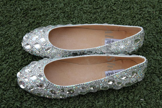 زفاف - flats pumps AB crystals clean crystals diamond stones bridal flat shoes closed toe handmade bling wedding flats custom flats