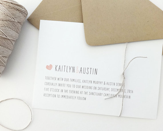 Wedding - Kaitlyn Wedding Invitation Sample / Rustic Wedding Invitation / Heart Invitations / Wedding Invite / Kraft Wedding Invitation / Twine