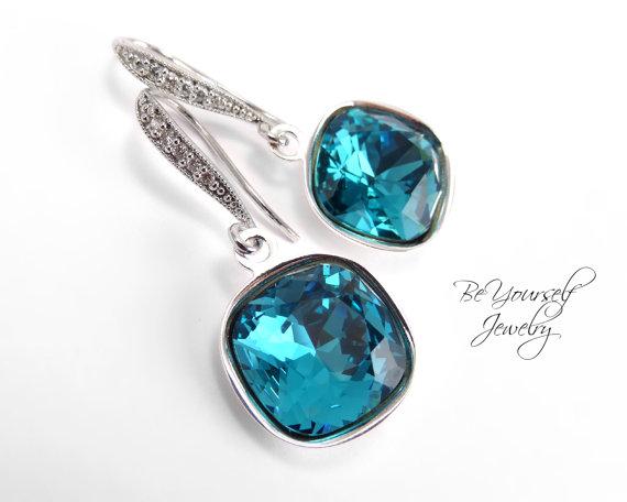 Mariage - Teal Blue Earrings Swarovski Crystal Cushion Cut Indicolite Earrings Hypoallergenic Something Blue Bridal Bridesmaid Gift Wedding Jewelry