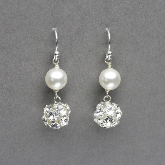 Pearl And Rhinestone Earrings Bridal Jewelry Swarovski Wedding Simple Dangle