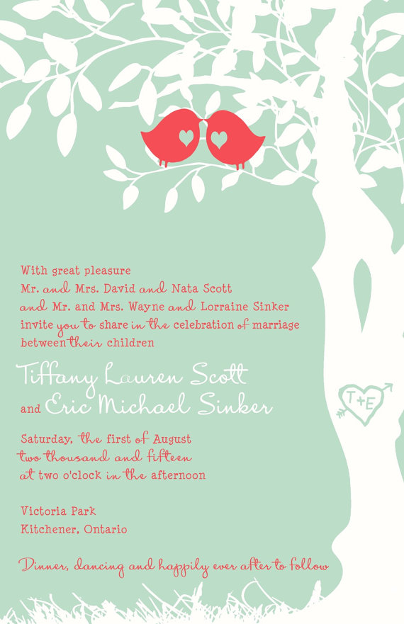 Rush Mint And Coral Love Bird Wedding Invitation Budget Wedding