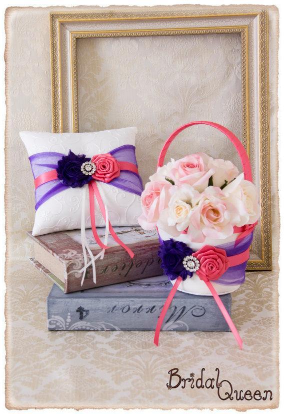 Свадьба - Purple and Pink Coral Flower Girl Basket, Wedding Ring Bearer Pillow, Wedding Ring Pillow, Wedding Pillow, Flower Girl basket, Custom Color