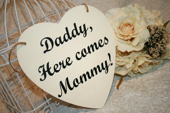 Wedding - Shabby Chic Daddy, Here Comes Mommy Sign Heart Chair Signs Photography Props Rustic Wood Wedding Ring Bearer Flower Girl