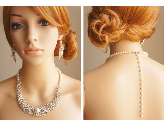 Mariage - Wedding Pearl and Rhinestone Jewelry SET, Bridal Back Drop Bib Necklace and Dangle Earrings, Vintage Style Crystal Bridal Jewelry Set, SHANE