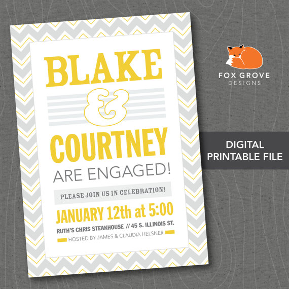 "Свадьба - Printable Engagement Party Invitation ""Typographic"" / Customized Digital File (5x7) / Printing Services Available"