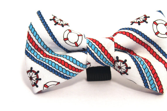 Свадьба - Dog Bow Tie, Nautical Dog Bow Tie, Nautical Bow Tie, Doggie Bow Tie