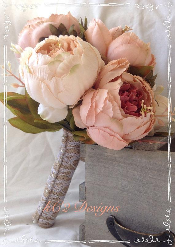 Silk Flower Wedding Bouquet Bridal YOUR COLORS Blush Peony 2015 Colors