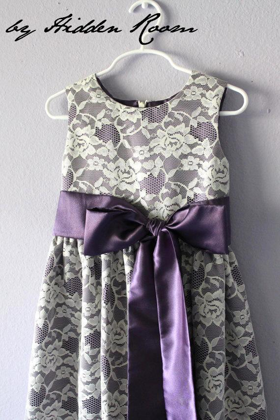 d14b937e7 Lace Flower Girl Dress In Purple And Ivory, SizeT2 - 18 #2276674 ...